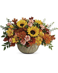 Teleflora's Autumn Sunbeams Centerpiece from Visser's Florist and Greenhouses in Anaheim, CA
