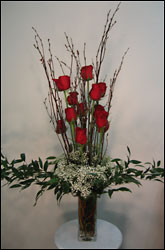 Dozen Red Roses Centerpiece from Visser's Florist and Greenhouses in Anaheim, CA