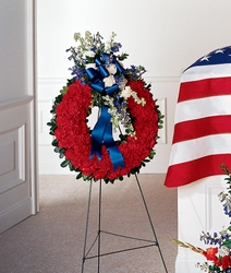 All-American Tribute Wreath from Visser's Florist and Greenhouses in Anaheim, CA