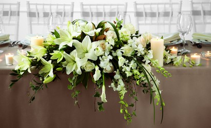 The White Linen Arrangement from Visser's Florist and Greenhouses in Anaheim, CA