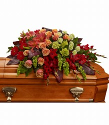 A Fond Farewell Casket Spray from Visser's Florist and Greenhouses in Anaheim, CA