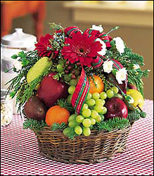 Fruit and Flowers Basket from Visser's Florist and Greenhouses in Anaheim, CA