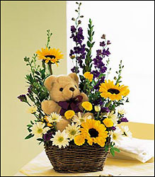 Orange County Flower Shop - Bear and Basket
