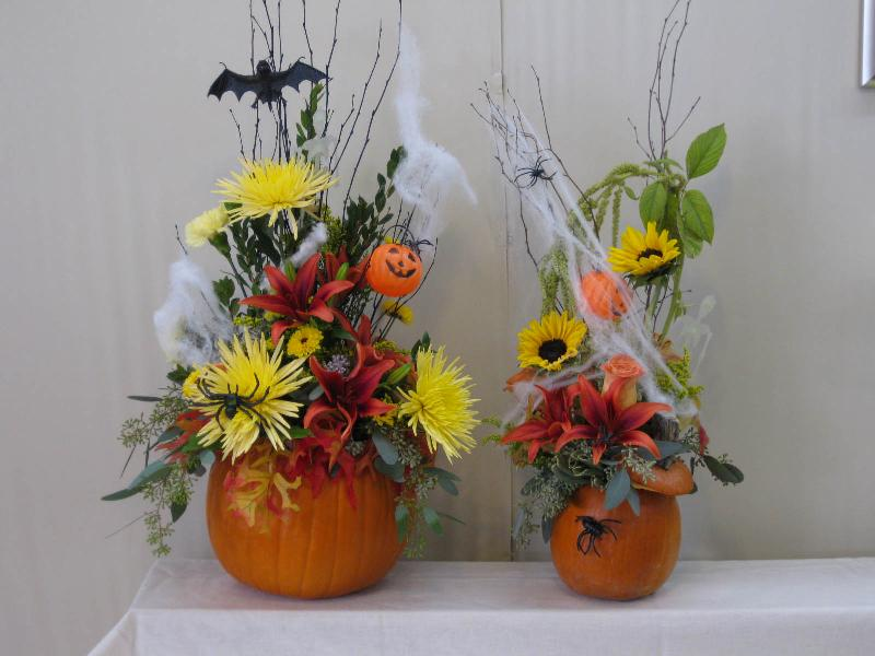 fresh pumpkin halloween arrangements
